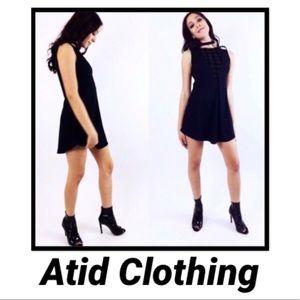 ATID Deep V Velvet Rib Knit Cutout Contrast Dress